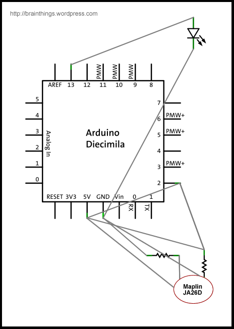 Arduino schematic showing placement of maplin photo-reflector